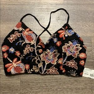 NWT Floral crop top with lace up back